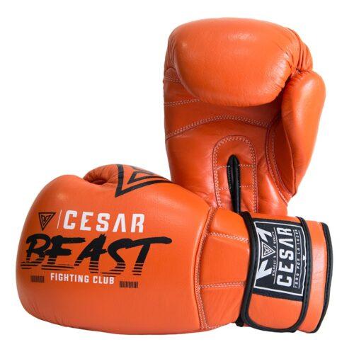 guantes de boxeo y kick boxing cesar beast naranjas