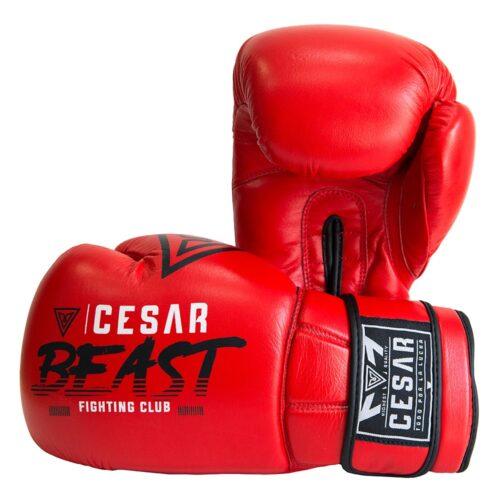 guantes de boxeo y kick boxing cesar beast rojos