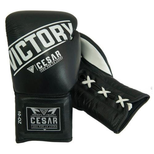 guantes de boxeo de cordones negros